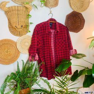 vtg vsco boyfriend red flannel button up popover